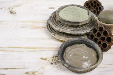 Ancient minerals - green clay powder and mud mask for spa and beauty