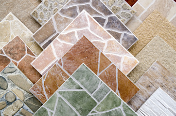 Samples of a colorful ceramic tile closeup