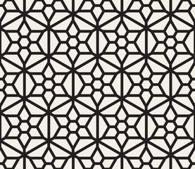 Vector Seamless Black And White Hexagonal Geometric Grid Pattern