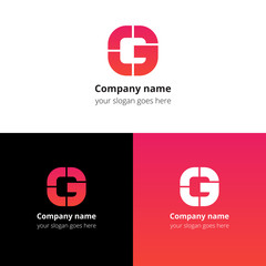 Letter G logo icon flat and vector design template. Monogram G. Logotype G with red-pink gradient color. Creative vision concept logo, elements, sign, symbol for card, brand, banners.