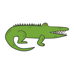 Vector cartoon hand drawn crocodile
