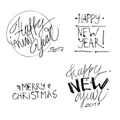Holiday illustration with lettering composition.