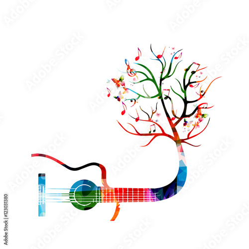 creative music style template vector illustration colorful guitar rh fotolia com Music Note Icon Vector White Music Note Vector
