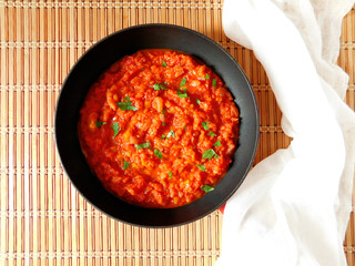 Asian tomato sauce with shrimps in a pan