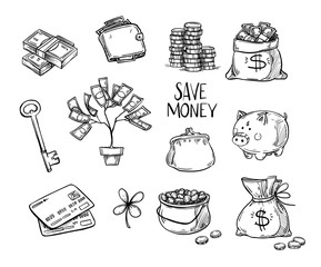 Hand drawn vector illustrations - Save money. Doodle design elem