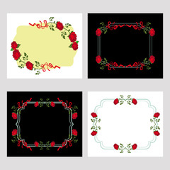Set of color frames with red roses. Design elements for graphic backgrounds. Vector clip art.