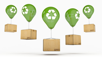Recycle sign On a Green Glossy Balloon and cardboard
