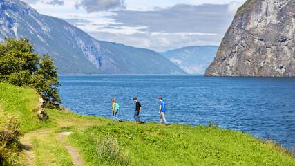 Hiking along the Aurlandsfjord, Hordaland, Norway