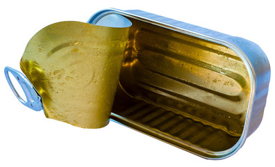 Still life and close up image of an open tin