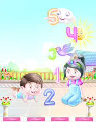 Boy and girl play with counting