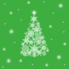 Christmas or new year pattern ,white snowflakes christmas tree at the green background