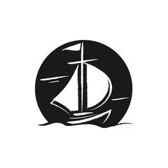 Cross Ship Draw Illustration Logo Icon