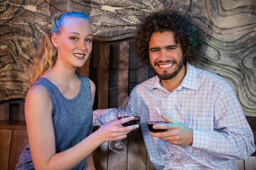 Couple toasting glass of wine in bar