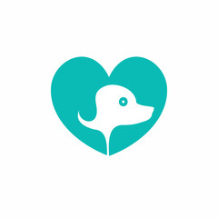 Dog Lover Heart Logo Icon