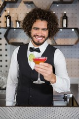 Bartender holding glass of cocktail in bar counter