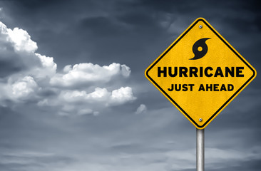 Hurricane just ahead - road sign symbol