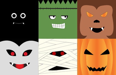 Halloween monsters' face illustrated in square photo; Bat, Dracula, Frankenstein, Mummy, Wolfman, Pumpkin.