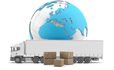 Camión y cajones de carga para transporte internacional de mercancías