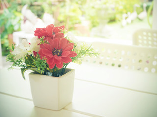 Vintage flower pot on the white table