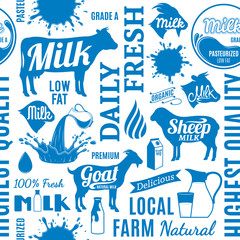 Typographic vector milk seamless pattern or background