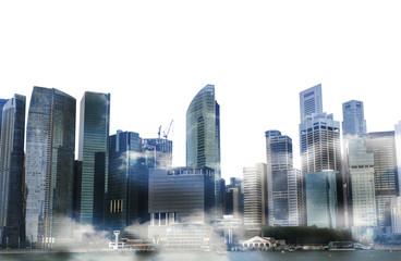 Cityscape of singapore city , Isolated on white background, double exposure