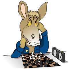 Donkey Chessplayer - Colored Cartoon Illustration, Vector