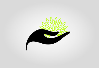 Hand, leaves in green logo