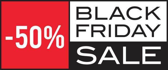 Black Friday Sale, -50%, seasonal sale, vector design