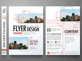 Brochure design template vector.Flyers report business magazine poster layout portfolio template.Abstract square in cover book portfolio presentation poster layout.City design on A4 brochure layout.