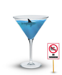 Shark in drink/Shark swimming in cocktail glass