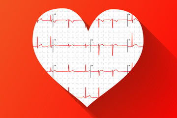Human electrocardiogram in heart shape with long shadow on red background