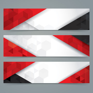 White, red and black abstract background banner.