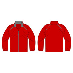 red autumn, spring jacket isolated vector front and back for promotion advertising