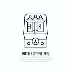 Modern vector line icon of bottle sterilizer. Linear illustration of empty baby bottle sterilizing. Outline infant food symbol. Healthy breast feeding, milk bottle wash. Clean flask bath.