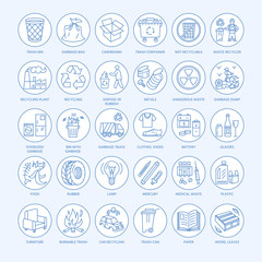 Modern vector line icon of waste sorting, recycling. Garbage collection. Waste types - paper, glass, plastic, metal. Linear pictogram with editable stroke for brochure of waste management