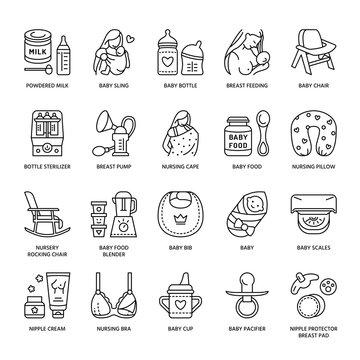 Modern vector line icon of breastfeeding, baby infant food. Breast feeding elements - pump, woman, child, powdered milk, bottle sterilizer, baby. Infant food pictogram