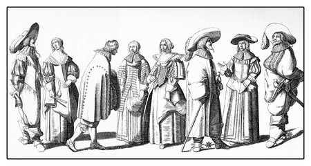 Fashionable ladies and gentlemen outdoors for a walk,  XVII century