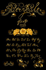 Gold Fairytale, Vector hand drawn calligraphic font. Quote text. ABC.English lettering lowercase, uppercase. Script, vintage, handcrafted, retro letters.