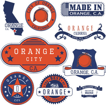 Orange city, CA. Stamps and signs