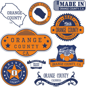 Orange county, CA. Set of stamps and signs