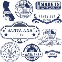 Santa Ana city, CA. Stamps and signs