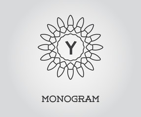 Monogram Design Template with Letter Vector Illustration Premium