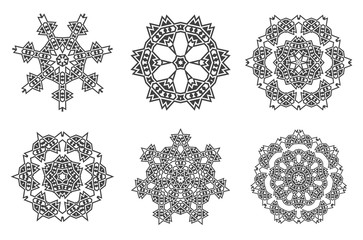 Ethnic Fractal Mandala Vector Meditation looks like Snowflake or