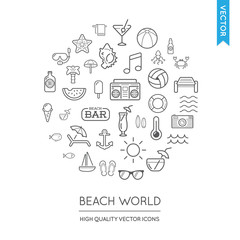 Vector Set of Beach Modern Flat Thin Icons Inscribed in Round Sh