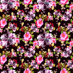 Watercolor floral pattern. Seamless with purple and pink bouquet on dark background.