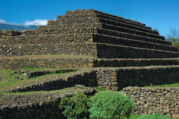 Pyramid-shaped, terraced structures, found in Valley of Guimar, Tenerife and researched by Thor Heyerdahl, who thought they had a significant part in the aboriginal guanches culture.