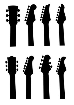 set of guitar headstock silhouette isolated on white
