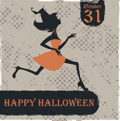 Halloween card with witch silhouette