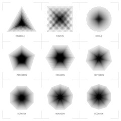 Vector halftone geometric shapes, Dot pattern, abstract background. Set design elements: square, circle, triangle, pentagon, hexagon, heptagon, octagon, nonagon, decagon. Dotwork Illustration