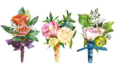 Set watercolor Bouquet and boutonniere .